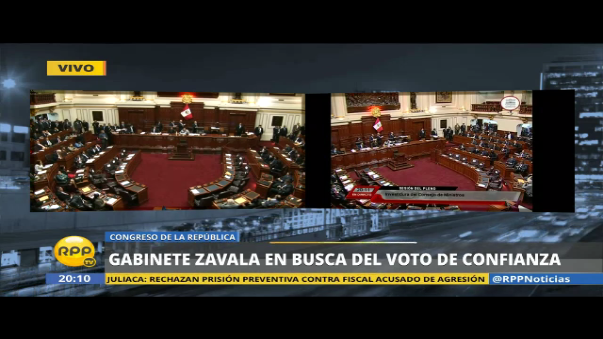 Pleno del Congreso da voto de confianza al Gabinete presidido por Fernando Zavala