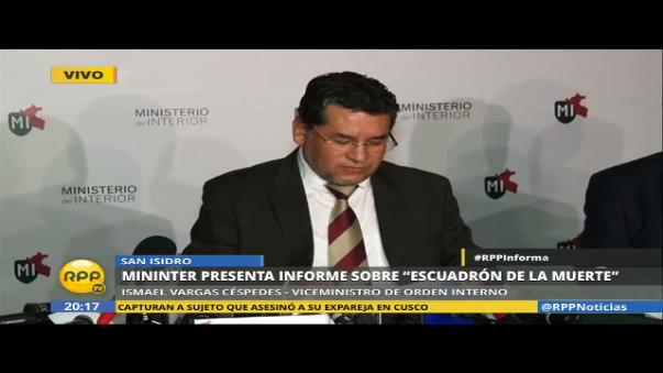 El viceministro de Orden Interno, Ismael Vargas Céspedes, presentó el informe sobre el grupo irregular dentro de la Policía Nacional del Perú (PNP).