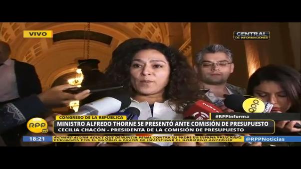 Parlamentaria Cecilia Chacón dijo que PPK debe dar explicaciones de su reunión con el exministro Alonso Segura, a su ministro Alfredo Thorne.