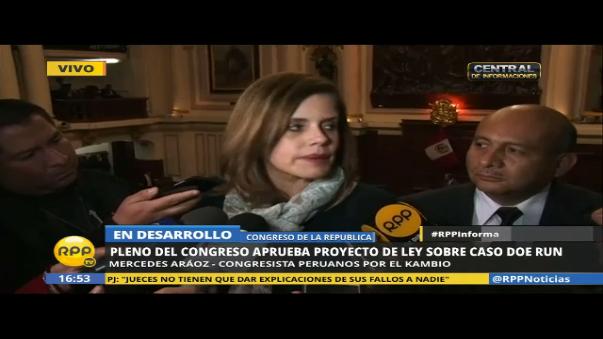 Mercedes Aráoz se pronunció sobre aprobación de proyecto de ley del caso Doe Run.