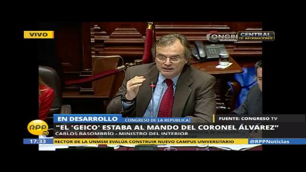 Carlos Basombrío señaló que la GEICO estaba al mando del coronel Álvarez.