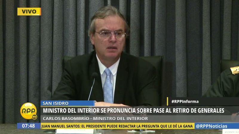 Carlos Basombrío aseguró que todos los pases al retiro obedecen a parte del proceso de modernización de la Policía.