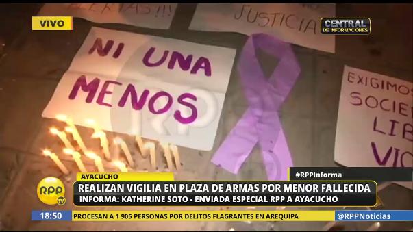 Realizan vigilia en la Plaza de Huamanga tras violación grupal y posterior muerte de menor en Ayacucho