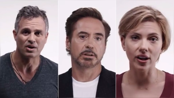 Mark Ruffalo, Robert Downey Jr. y Scarlett Johanson se reunieron para este video, obra del director de 'The Avengers'.