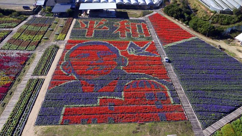 La inmensa imagen de Obama formada con flores mide 100 metros de largo y 50 de ancho.