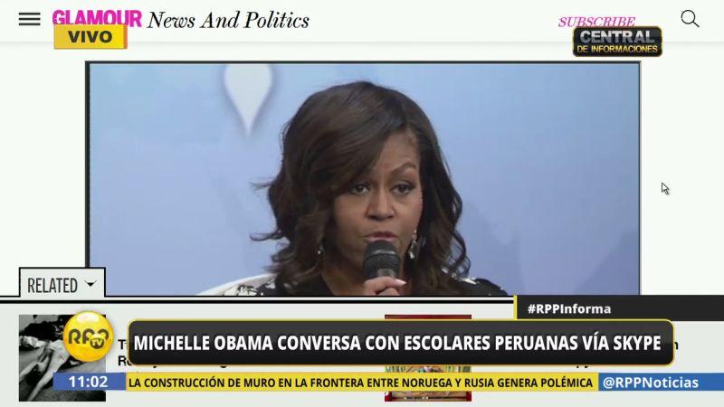 La primera dama estadunidense habló con menores peruanas vía Skype.