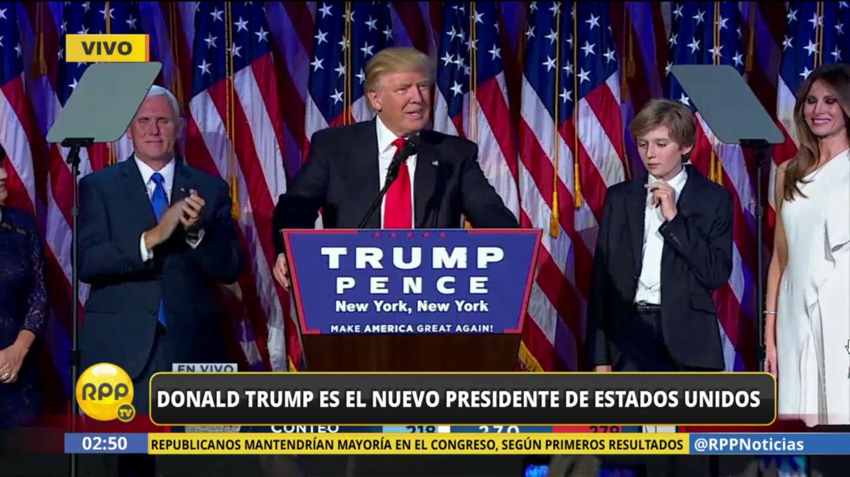 Donald Trump habla a sus seguidores en Nueva York luego de recibir la llamada de Hillary Clinton, quien reconoció su victoria.