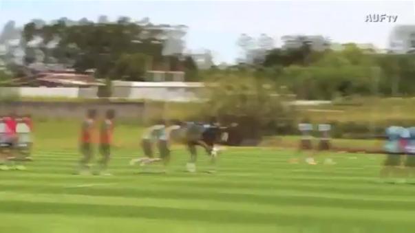 Luis Suárez marcó un golazo de arco a arco en los entrenamientos de la Selección Uruguaya. Lo peculiar es que lo hizo como arquero.