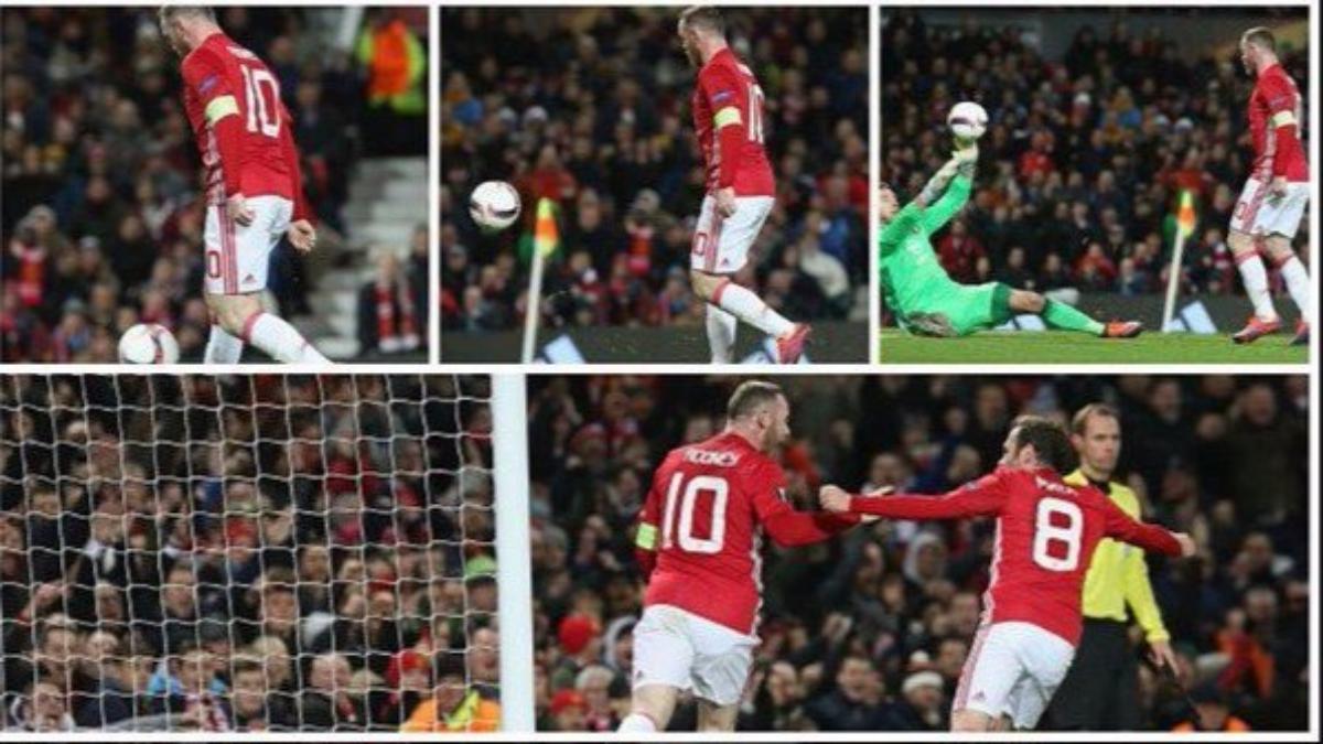 Wayne Rooney, el máximo goleador histórico (39) del Manchester United en competencias europeas.