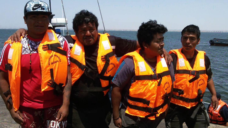 La patrullera Costa San Andrés encontró a los pescadores artesanales en buen estado de salud.