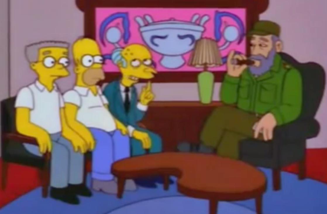 El señor Burns quería comprar Cuba, que previamente había sido declarada en bancarrota por Fidel Castro.