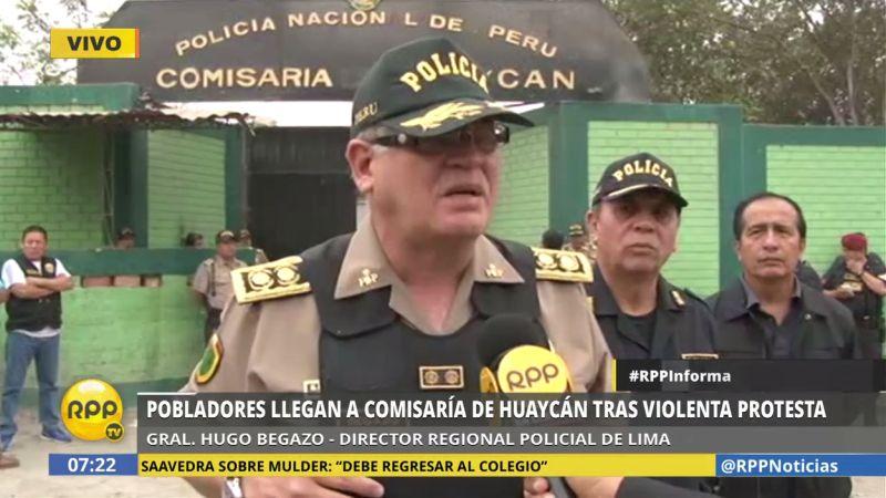 """Hugo Begazo calificó como """"un hecho vil"""" lo ocurrido ayer en Huaycán."""