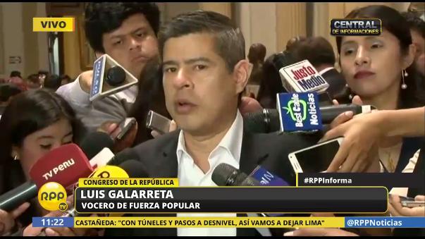 Luis Galarreta cuestionó que se haya sacado a un ministro de otra cartera para ocupar el Ministerio de Defensa.