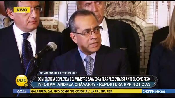 El ministro Jaime Saavedra aseguró que no renunciará a su cargo y será el Congreso el que decida su destino.