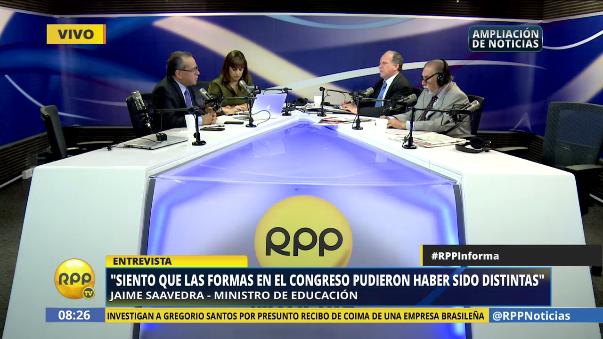 Jaime Saavedra habló de las reformas educativas que le hubiera gustado iniciar durante su gestión al frente del Ministerio de Educación.