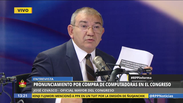 Cevasco dijo que el Congreso estaba obligado a comprar a las empresas que están listadas en Perú Compras.