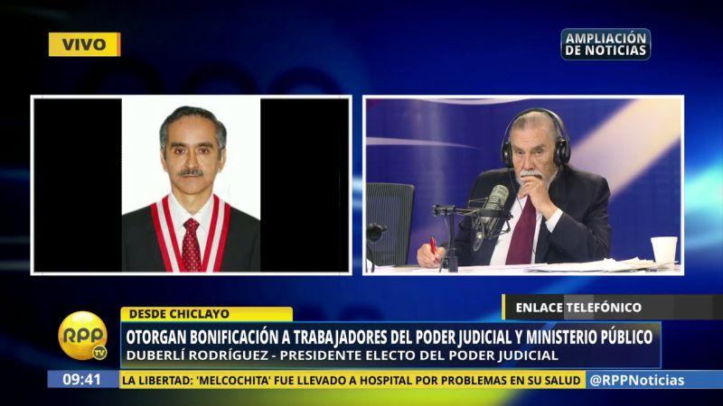 Duberlí Rodríguez, electo presidente del Poder Judicial, confirmó el otorgamiento del bono a los trabajadores judiciales y fiscales.