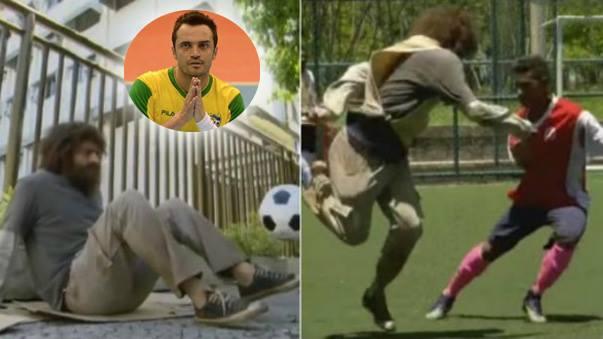 La estrella de fútbol sala se vistió de indigente y jugó un partido de fútbol donde relució toda su habilidad.
