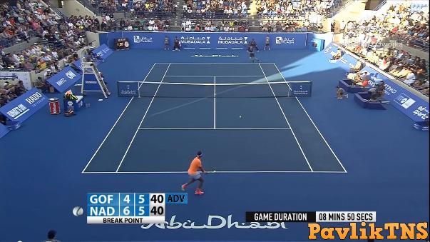 Uno de los puntos más disputados del partido entre Rafael Nadal y David Goffin.