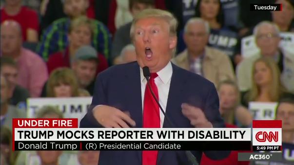 Trump en el discurso de campaña donde se burló de un discapacitado. Meryl Streep lo recordó en los Globos de Oro.