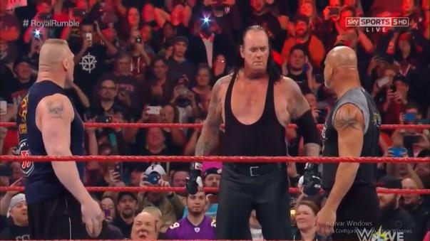 Brock Lesnar, The Undertaker, Bill Goldberg tuvieron un careo previo a Royal Rumble en RAW.