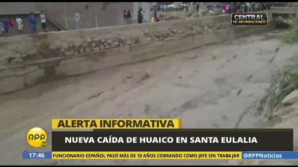 Santa Eulalia también es afectada por un nuevo huaico.