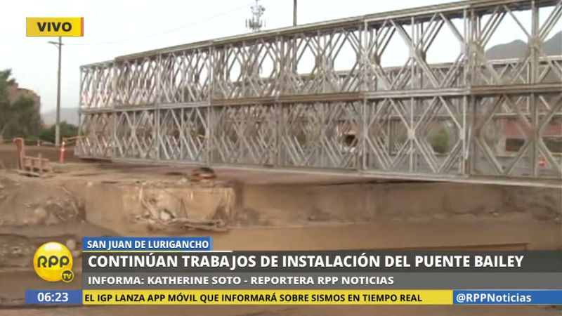 El puente provisional mide 42 metros y soporta hasta 48 toneladas de peso.