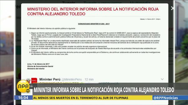 Comunicado del Mininter sobre la Interpol y Alejandro Toledo.