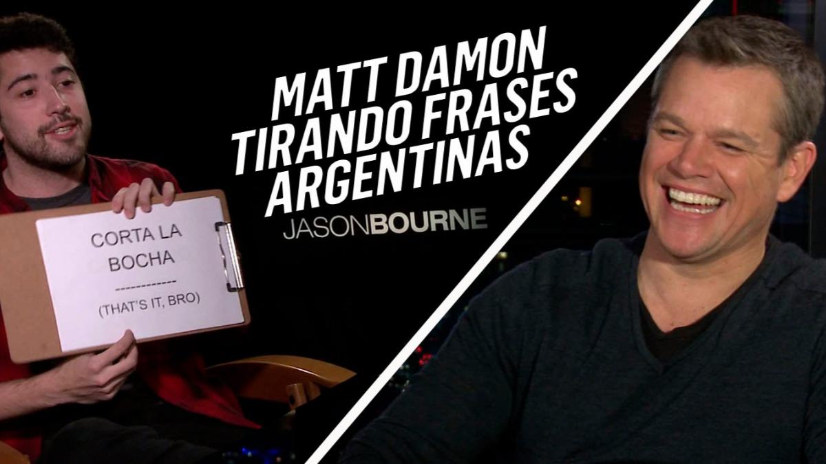 Matt Damon tratando de pronunciar frases argentinas.