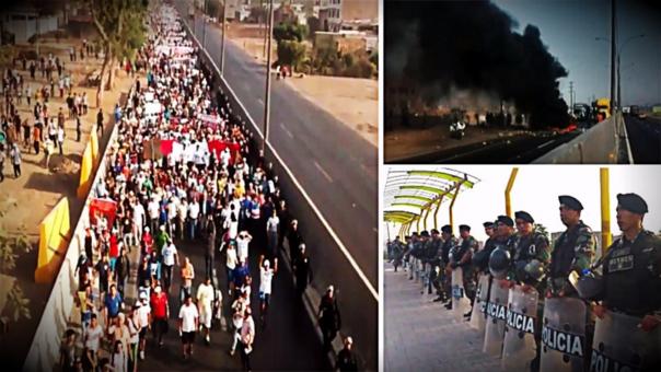 La Policía detuvo a 60 manifestantes que estuvieron involucrados en desmanes, donde cerca de 6,000 manifestantes tomaron nuevamente la Panamericana Norte en protesta contra peaje en Puente Piedra.