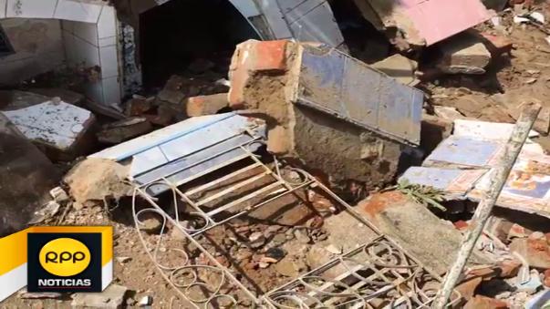 Cinco nichos del cementerio San Martín se derrumbaron ante la antigüedad de su infraestructura y fuertes lluvias.