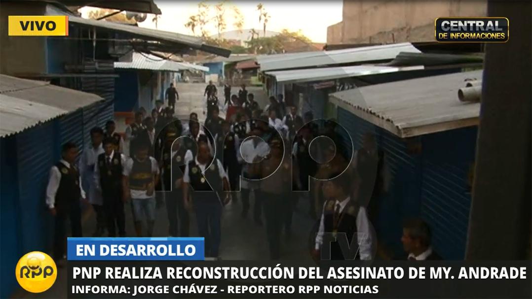 La reconstrucción se realizó en el mercado Mercedarias de Barrios Altos, la escena del crimen.