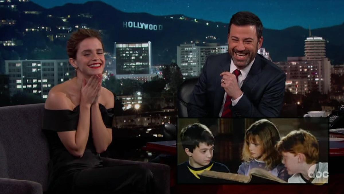 Emma Watson en el programa de Jimmy Kimmel.