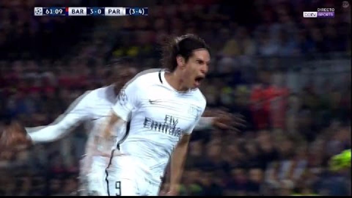 El gol de Cavani que puso el descuento en Barcelona.