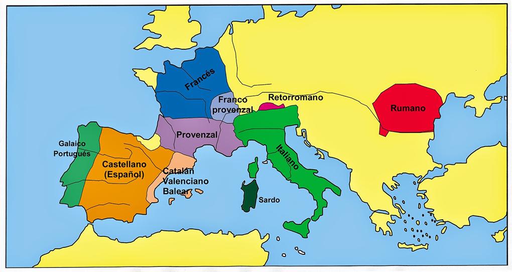 Este es el área de influencia de las lenguas romances.