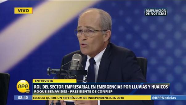 Roque Benavides exhortó a los empresarios de Piura a apoyar de alguna manera a la población afectada.
