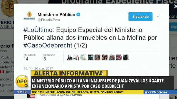Se allanaron dos inmuebles de Juan Carlos Zevallos en La Molina.