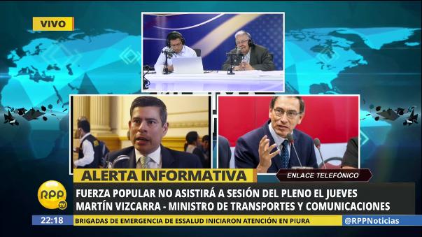 Fuerza Popular comunicó en RPP Noticias que no irá a la sesión del pleno del jueves para que el ministro y los congresistas atiendan la emergencia.
