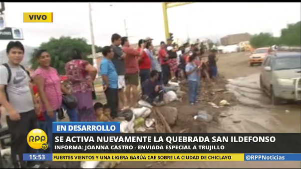 Huaico llega al centro de la ciudad de Trujillo