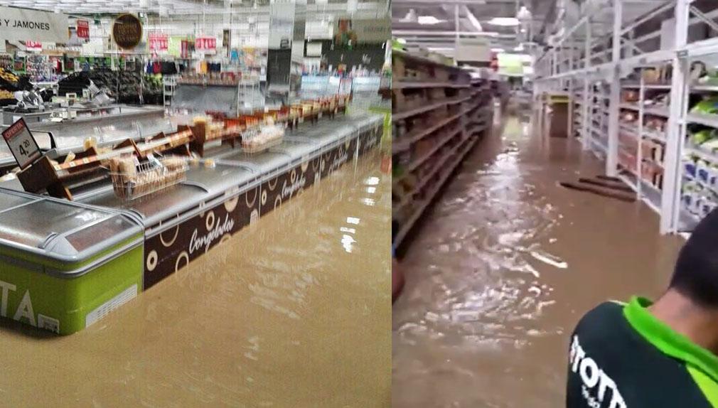 El agua ingresó en todos los ambientes del supermercado Tottus de Piura.