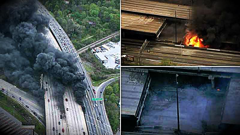 Parte de la Interestatal 85 en la ciudad de Atlanta, colapsó tras un incendio producido en la parte inferior de su estructura.