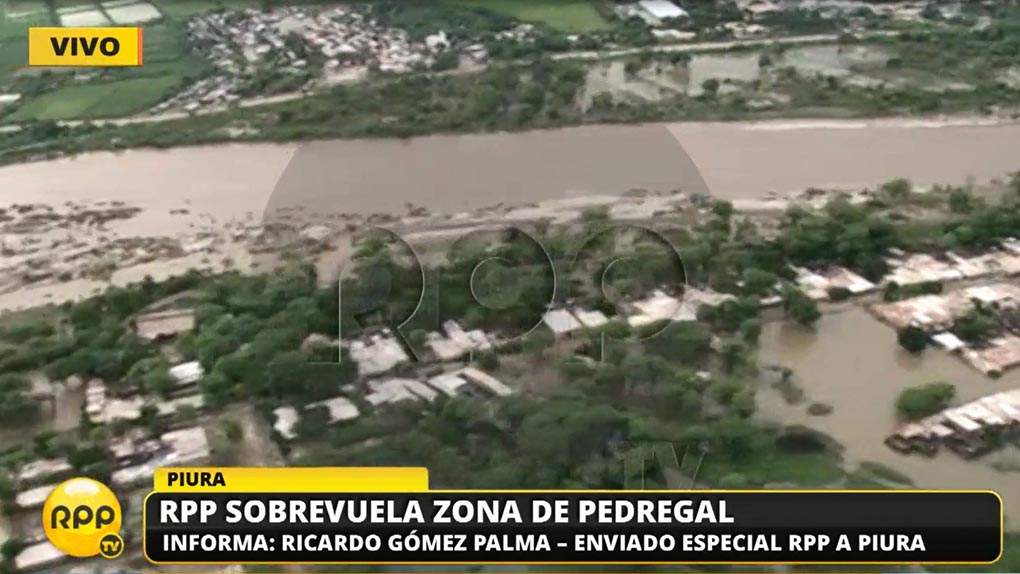 RPP Noticias sobrevoló el distrito de Catacaos en un helicóptero de las Fuerzas Armadas.