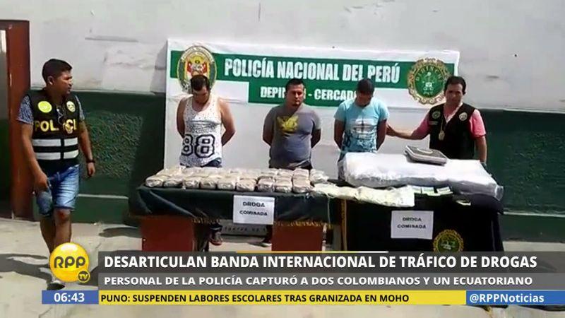 Los narcotraficantes extranjeros fueron presentados por la Policía.