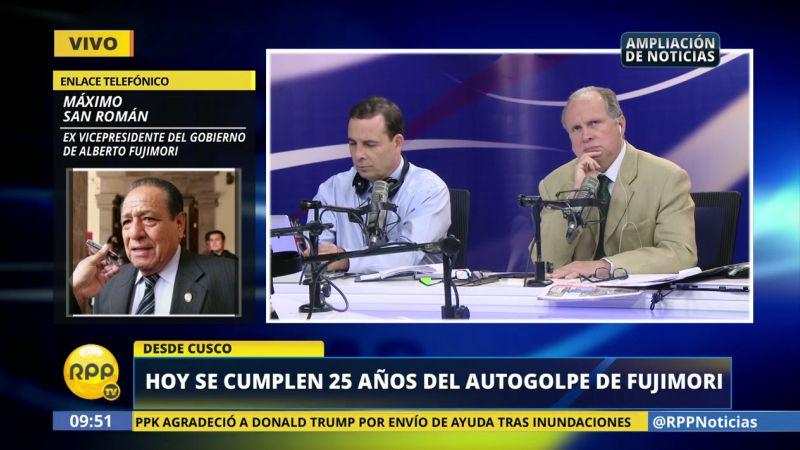 """Máximo San Román tildó de un """"salto al vacío lamentable"""" el autogolpe."""