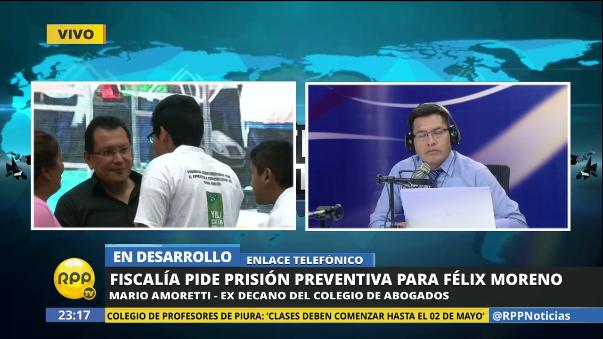 Mario Amoretti explicó la situación legal de Moreno.