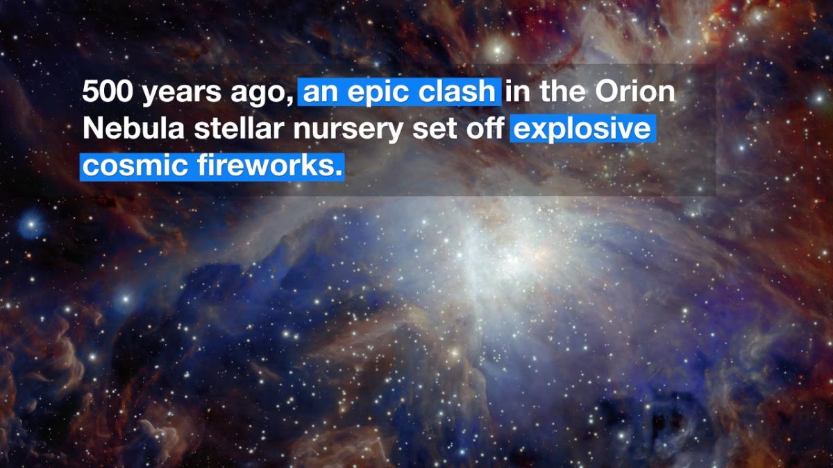 Los hechos se captaron en una densa y activa fábrica de formación de estrellas llamada Nube Molecular de Orión 1.