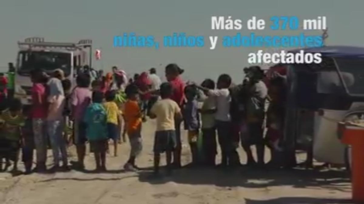 Los niños de Piura viven en una situación extrema, luego que la emergencia dejara sin hogar a más de 60,000 familias.