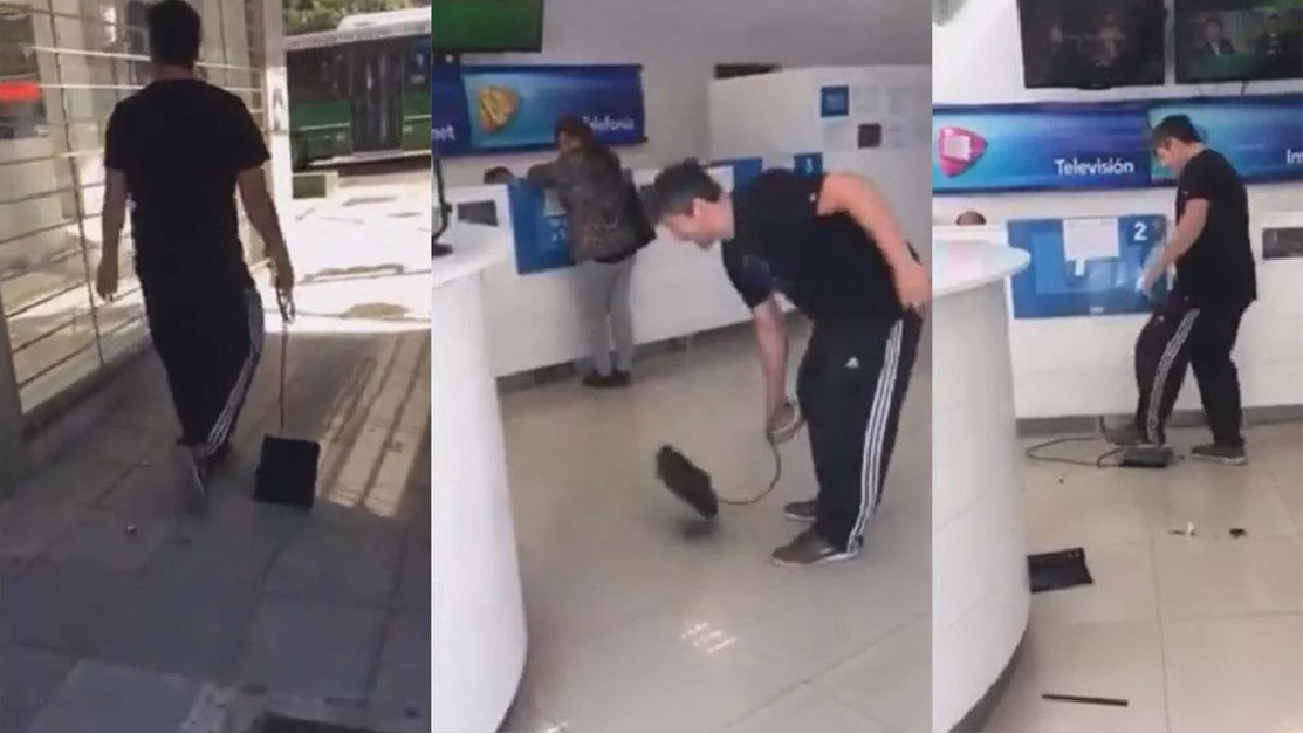 Un hombre completamente enojado con su compañía de cable, realizó un furibundo reclamo en una oficina.