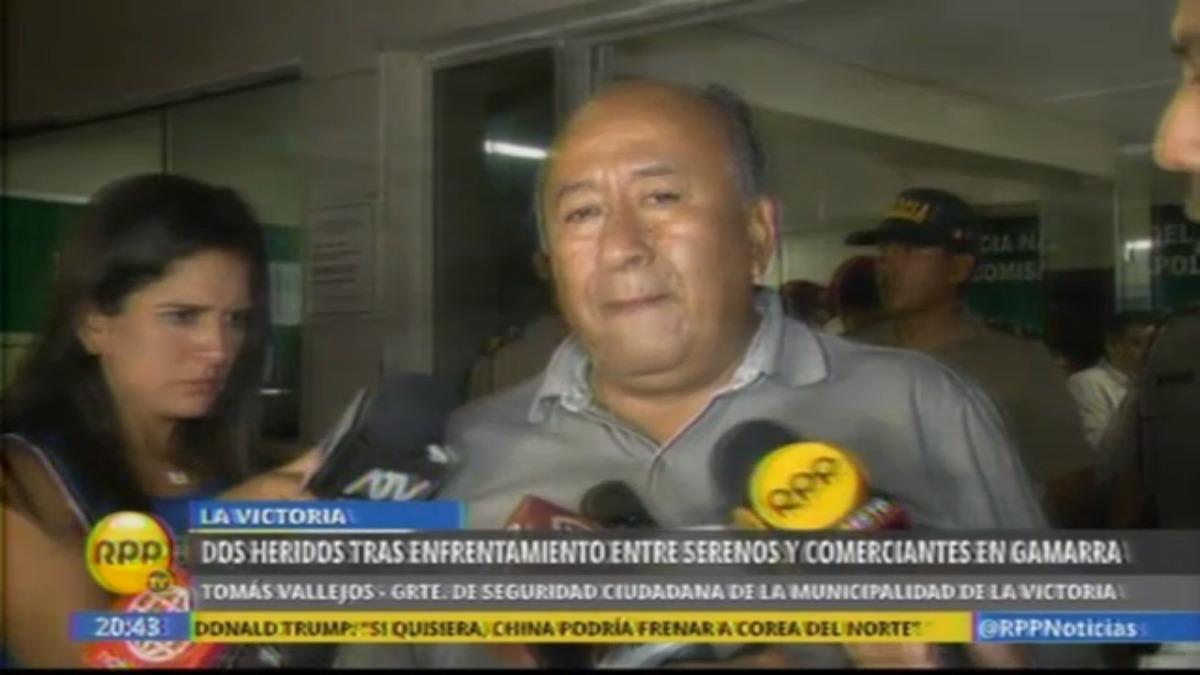 El gerente de Seguridad Ciudadana de la Municipalidad de La Victoria, Tomás Vallejos, de rechazó que los serenos estén cobrando cupos.