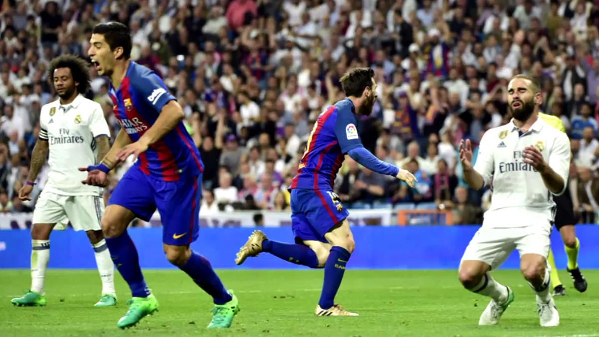 Lionel Messi metió un 'doblete' en el Santiago Bernabéu.